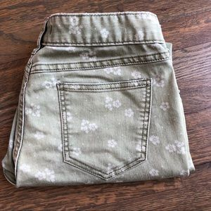 Free People Khaki Floral Jeans - Size 29